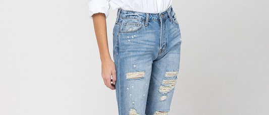 Distressed Paint Splatter Boyfit Jeans
