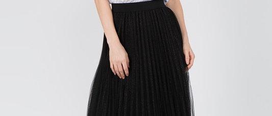 Multi Layered W/ Shimmer Metallic Fabric and Tulle Midi Skirt Elastic Waist