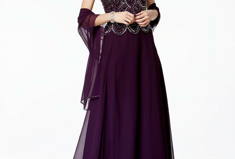 JKara Hand Beaded Embellished A-line Gown With Scarf