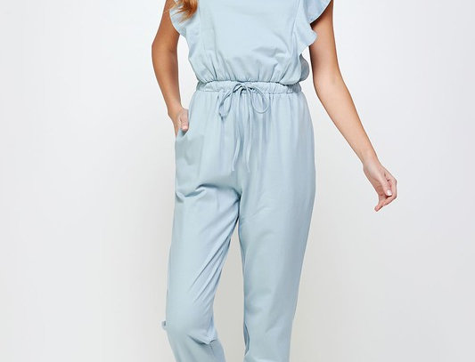 Shoulder Ruffle Sweat Jumpsuit