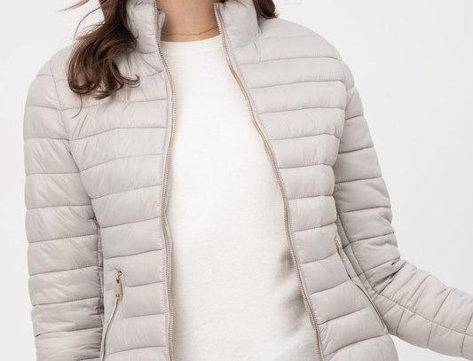 Ultra Lightweight Zip Up Padded Puffer Jacket