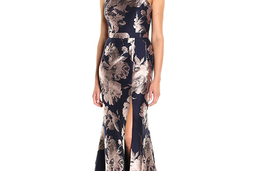 Xscape Womens Halter Gown Floral Brocade Dress Sleeveless