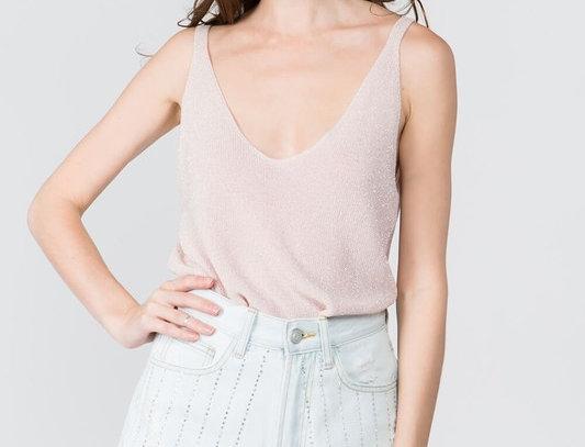 Blush V-Neck Knit Top