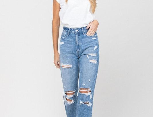 Distressed Raw Hem Mom Jeans