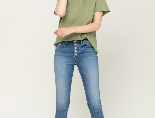 High Rise Button Up Ankle Skinny Jeans