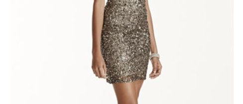 Adrianna Papell Short Sleeved Allover Beaded Sequin Dress |