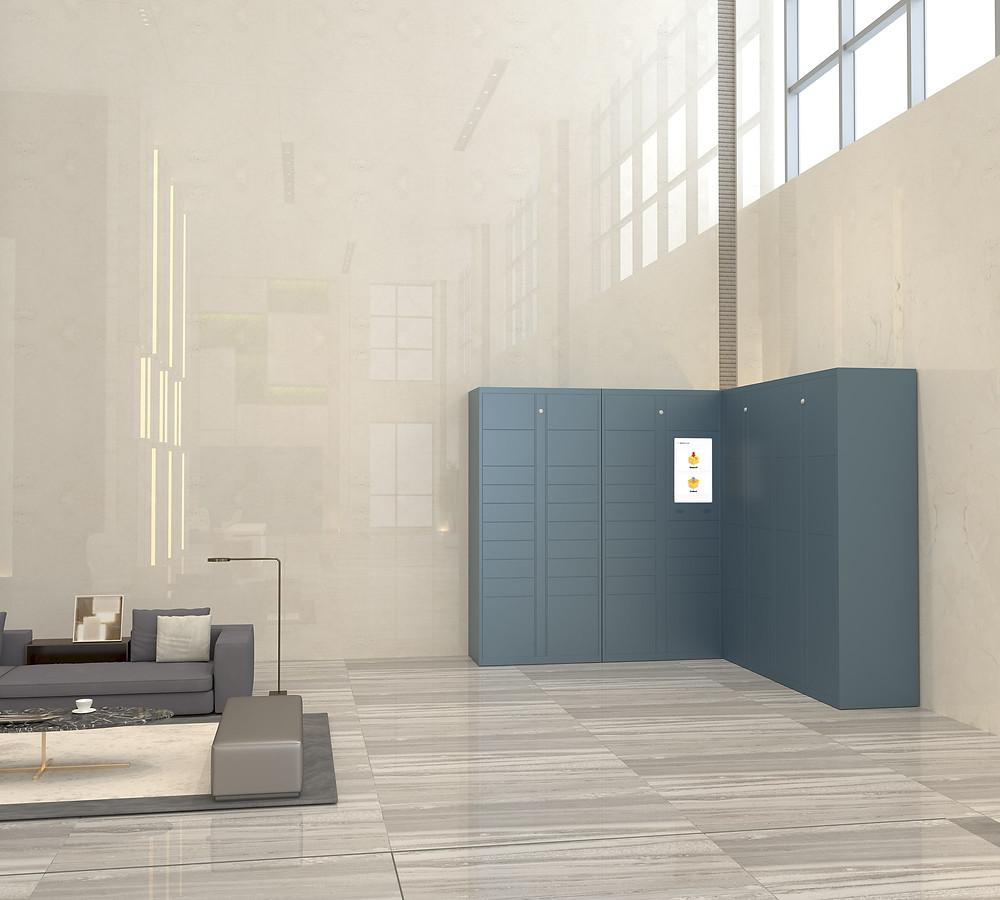 BlueBox smart parcel locker solution in apartment lobby