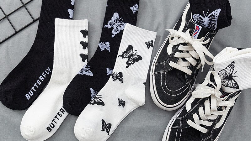 Black and White Butterfly Socks