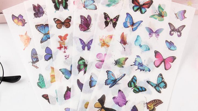 6 Pieces / Package PVC Transparent Butterfly Stickers