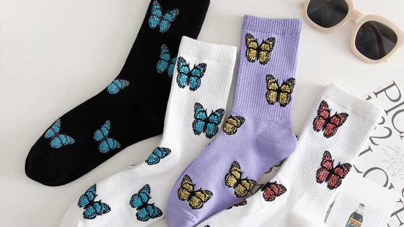 Colorful Butterfly Crew Socks
