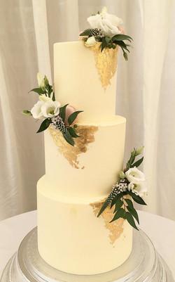 Gold Leaf Floral Wedding Cake Sussex