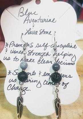 Blue Aventurine & Lava Stone Earrings