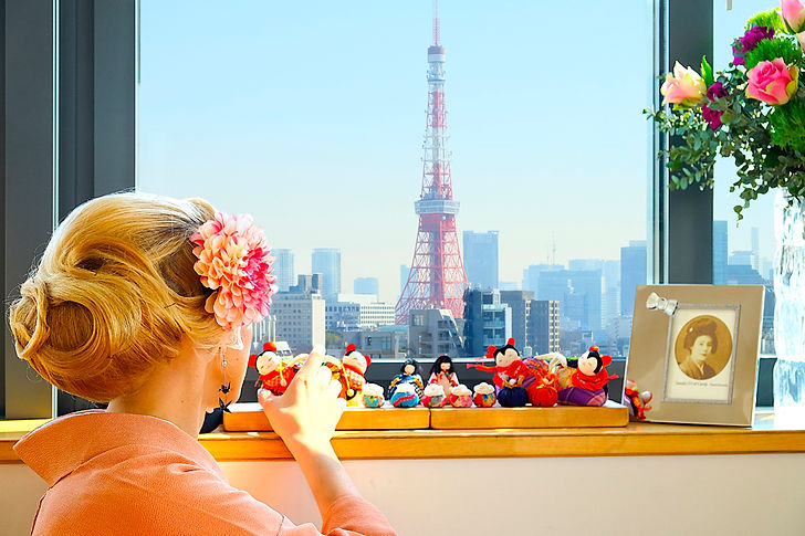 portrait, photography, tokyo, tokyo tower, view, clara bodin, yukata, kimono, japan