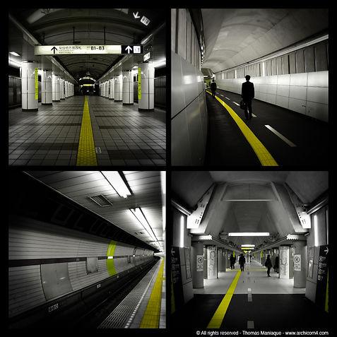 Tokyo concrete exposition photo japan japon metro yellow line ligne jaune black white noir blanc under by night