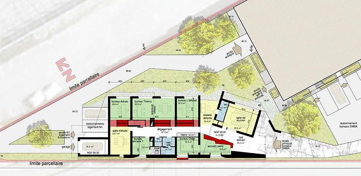 Plan RDC Extension et réhabilitation d'une grange à Saint Bernard du Touvet - Amroc Architecte / Archicom4