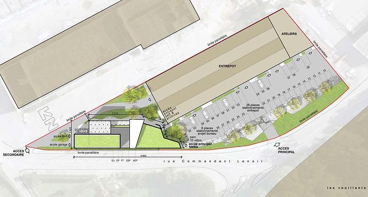 Plan masse construction bureaux SMBA Fontaine Amroc Architecte Archicom4