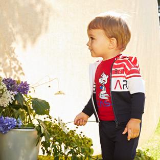 Yours Abbigliamento - Yours by 02Tandem - Bambino con tuta rossa e blu - Coll. Estate 2021 - Newborn 0 - 30 mesi