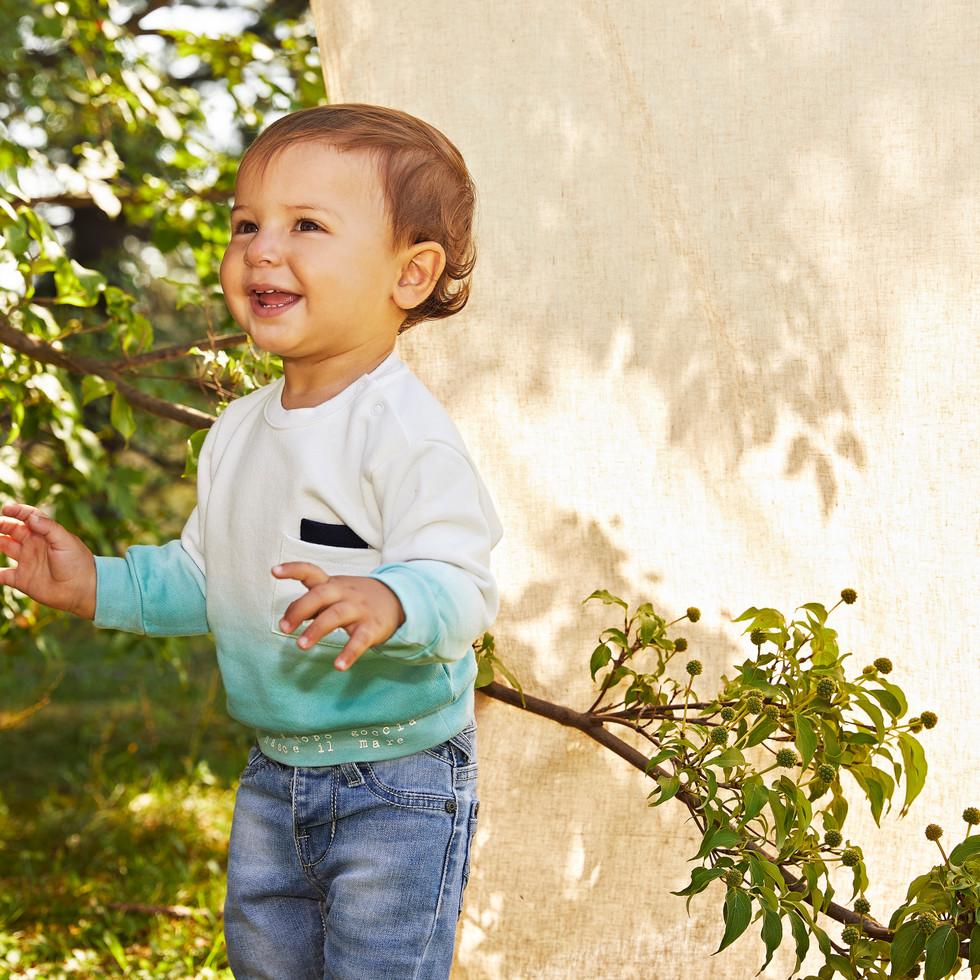 Yours Abbigliamento - Yours by 02Tandem - Bambino con maglia bianca e celeste - Coll. Estate 2021 - Newborn 0 - 30 mesi