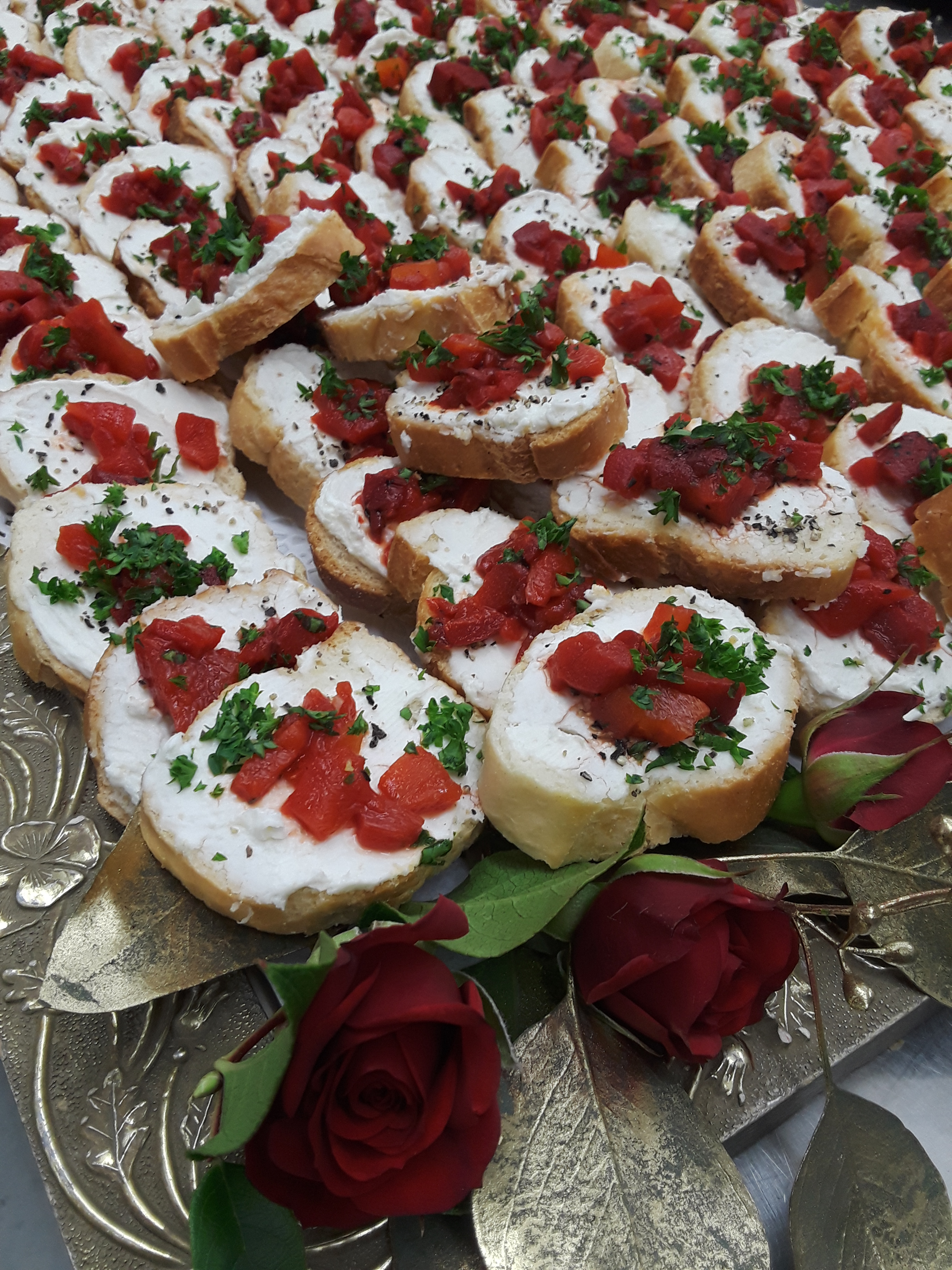 Red Pepper & Goat Cheese Crostini