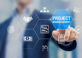 Professional project manager with icons