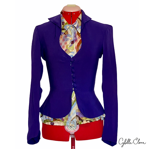 1940s Silk Peplum Blazer Blouse