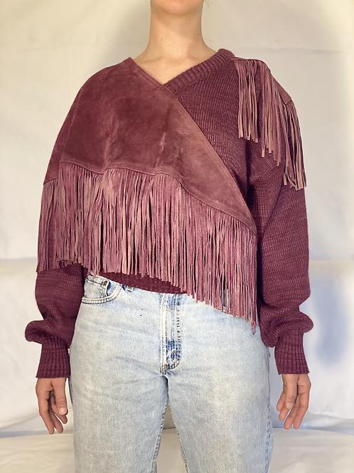 Pioneer Wear Suede Fringe Sweater