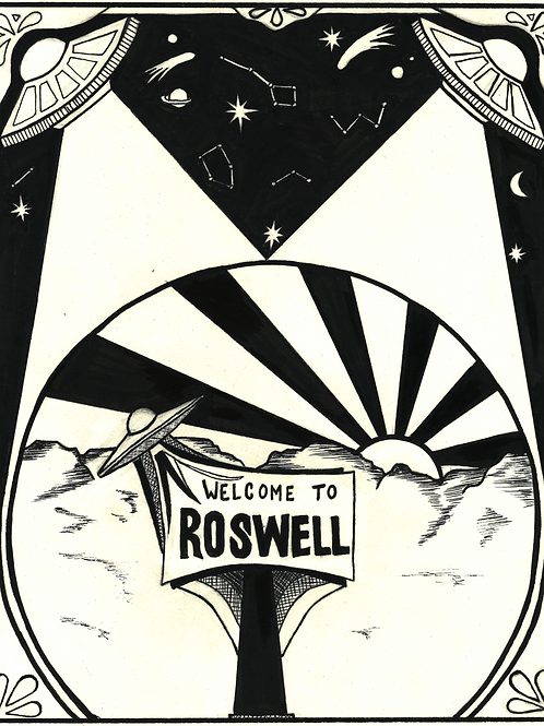 "Welcome to Roswell 8""x10"" Framed Print"