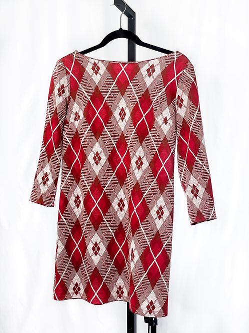 Red &  Tan Argyle Mini dress