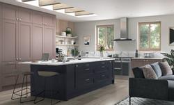 Madison vintage pink and slate blue kitchen