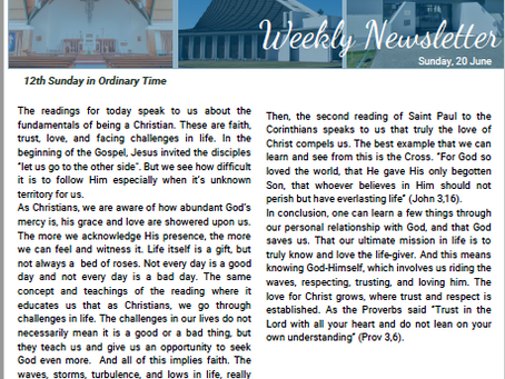Newsletter for the 12th Sunday in Ordinary Time