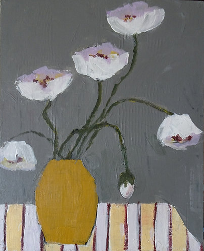 Poppies on Striped Cloth