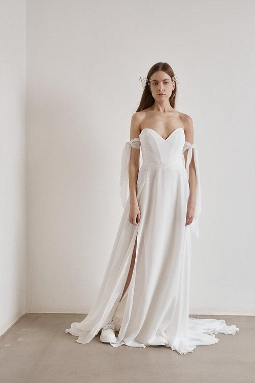 Korzetové minimalistické svatební šaty