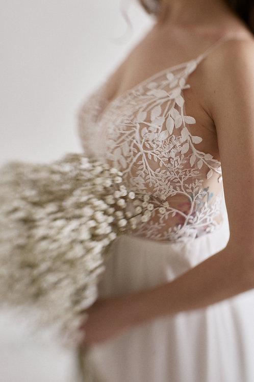 Svatební šifónové šaty na špagetová ramínka
