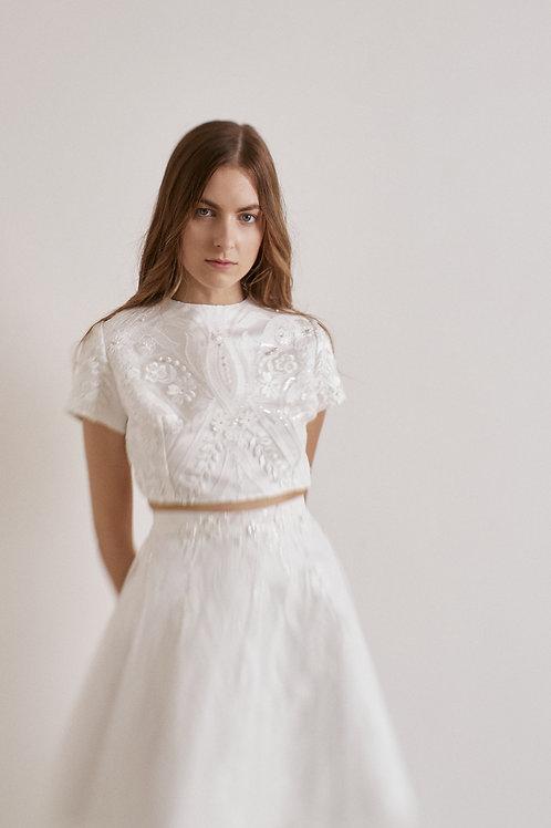 Celokrajkové dvoudílné šaty s krátkým rukávem