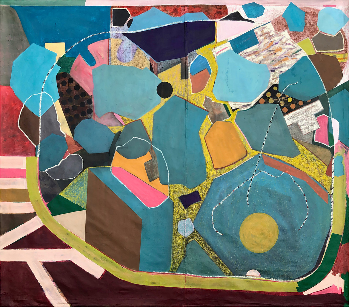 Heavy is the Weight (ups and downs), 2018. Oil paint on unstretched canvas; 70 x 80 inches. Image courtesy of the artist.