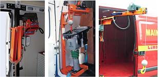 Kleinkrane / Ladehilfen mit elektroseilwinde für Batteriestrom. Besonders geeignet für Kleintransporten und Transportanhänger.