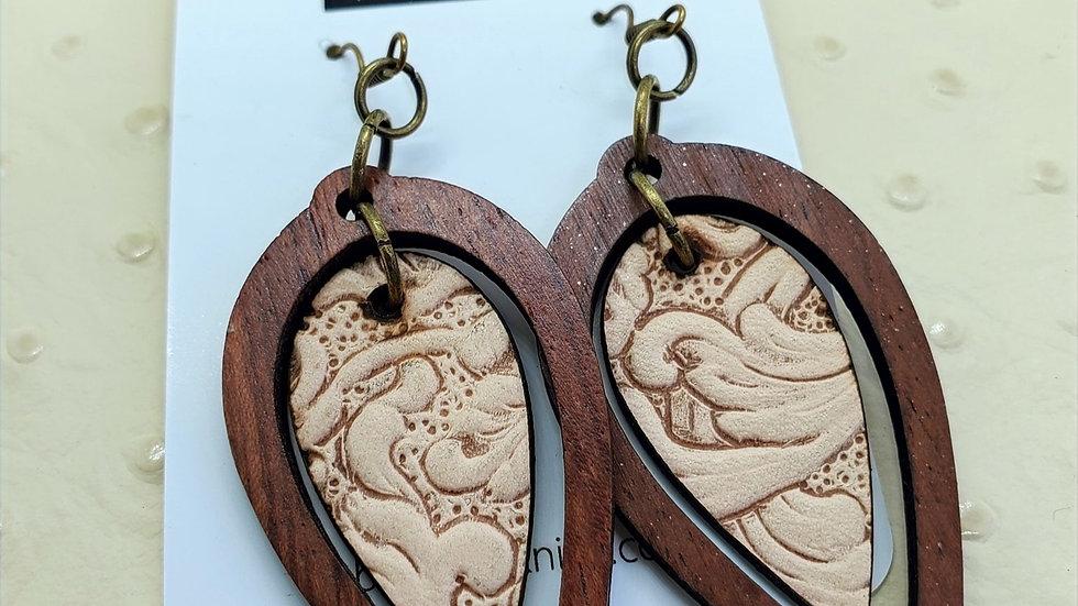 Leather & Wood Earrings