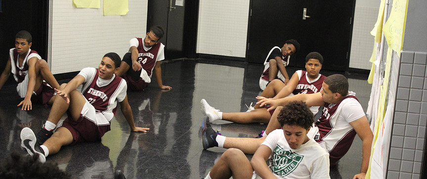 Warm-ups with New Heights JV Boys Basketball Team