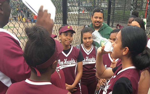 Post-Game pointers from Coach K with the New Heights Softball Team