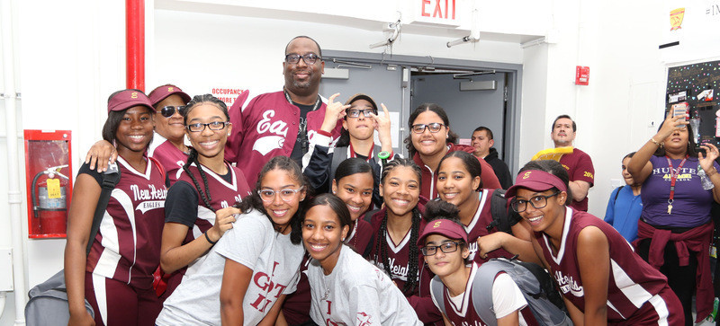 New Heights Softball Team with Coach K at pre-game pep rally