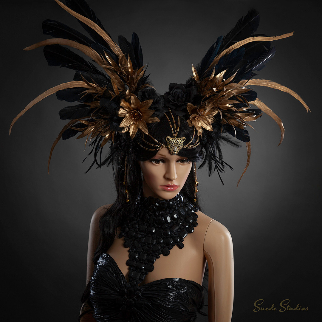 Suede_Studios_Black&Gold_Jaguar_Headdres