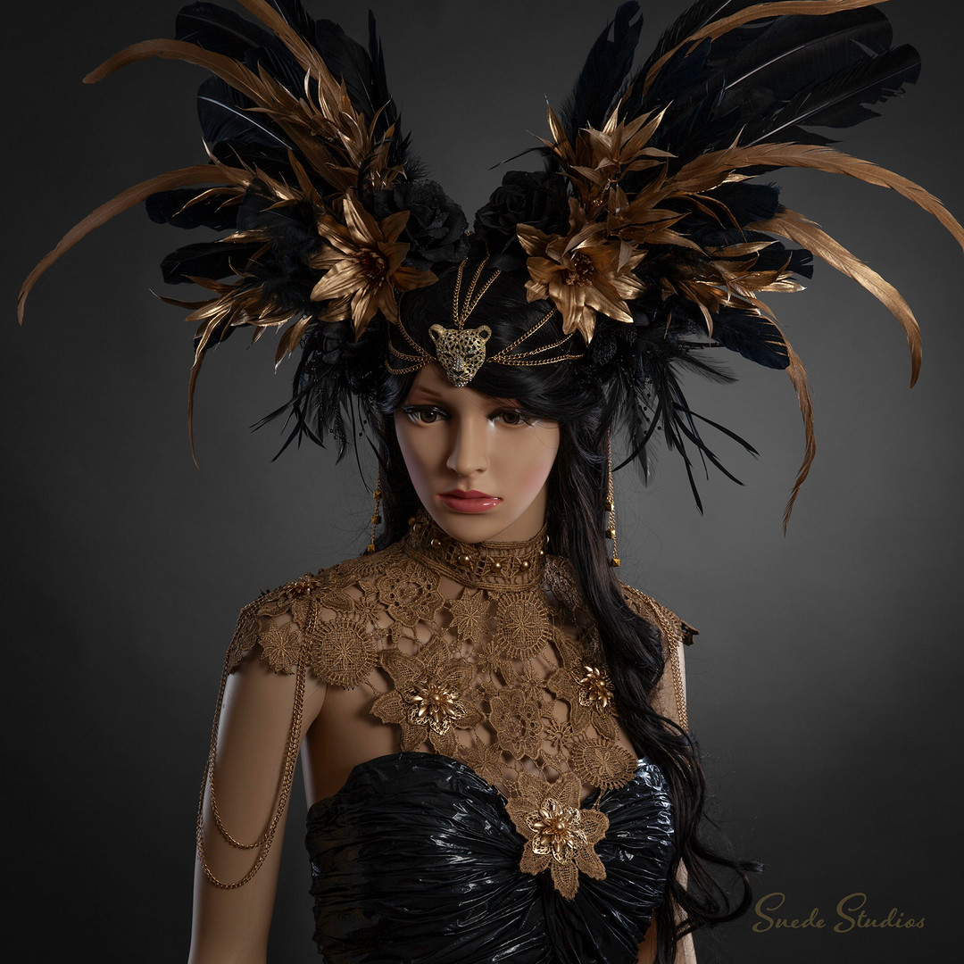 Suede_Studios_Black_&_Gold_Headdress_&_G