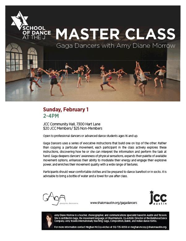 School of Dance Gaga Master Class Flyer