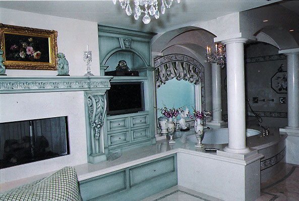 Master Bath cabinetry & fireplace surround