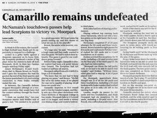 Camarillo beats Moorpark to remain at the Top of their division.