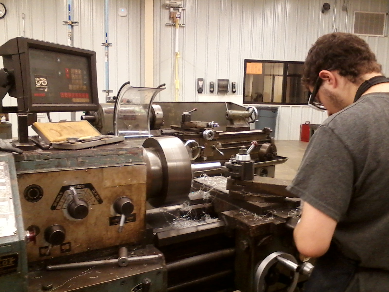 Making our drive shaft, Robotics Students get enhanced hands on experience