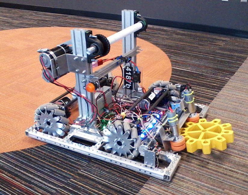 2017  Steamworks, The mecanum Robot B with an active gear retrieval mechanism