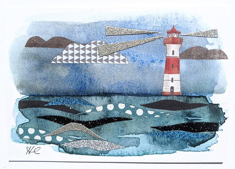 Seascape Collage Art Print Card