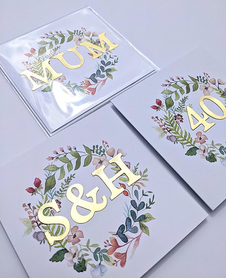 Personalised Floral Wreath Art Print Card