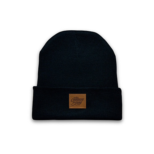 Leather Patch Knitted Beanie